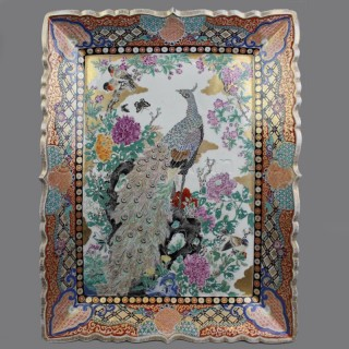 A Large Rectangular Imari Porcelain Charger With Peacock Decoration