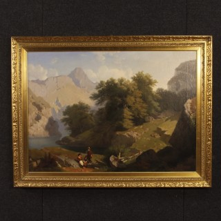 Carlo Piacenza 19th Century Oil on Canvas Italian Signed Landscape Painting, 1855