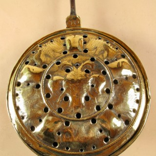Very Decorative Brass, wrought iron and wood bedwarming pan, French/Germany 17/18th century