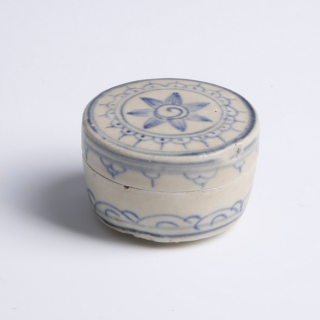 Hoi An Blue and White Cylindrical Covered Box with Lotus