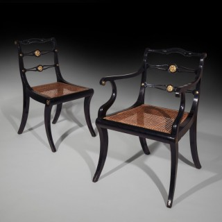 Set of Six Regency Ebonised Gilt-Brass Mounted Klismos Dining Chairs, by John Gee
