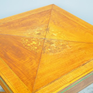Victorian Mahogany and Satinwood Envelope Card Table