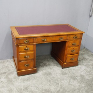 Late Victorian Oak Pedestal Desk with Burgundy Top