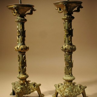Pair of Neo Roman Classical Large Pricket Candlesticks