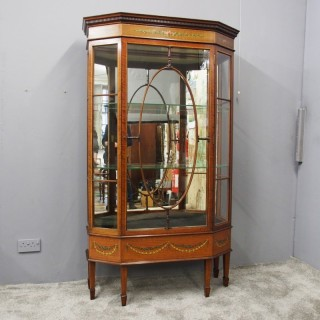 Sheraton Style Inlaid and Painted Display Cabinet
