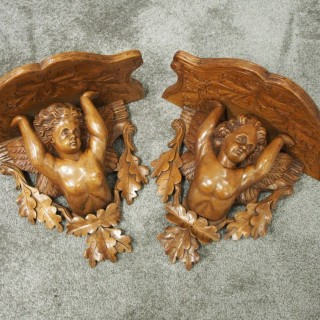 Pair of Italian Carved Limewood Cherub Wall Brackets