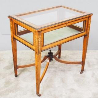 Victorian Marquetry Inlaid Rosewood Bijouterie Table