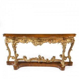 A mid Victorian gesso and Amboyna console table