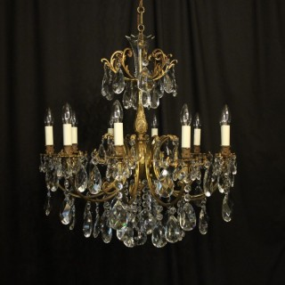 Italian Gilded Bronze 10 Light Antique Chandelier