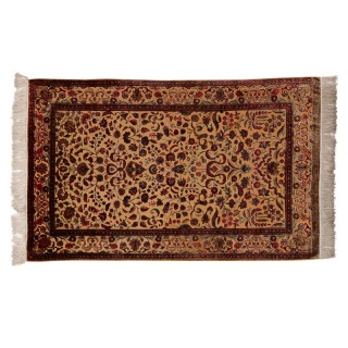 Persian orange and red silk carpet with fringed ends