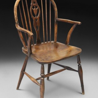 A George III period Ash and Elm Low Back Windsor armchair