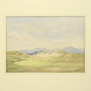 The 15th Hole at Harlech, Golf Watercolour