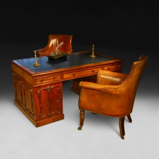 Highly figured Mahogany Partners' Pedestal Desk