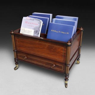 An unusual Regency Rosewood and Brass Inlaid Canterbury