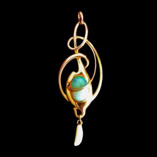 A large Barnet Henry Joseph gold opal art nouveau pendant