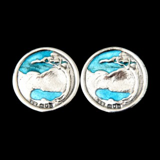 A rare Kate Harris pair of silver and enamel button earrings