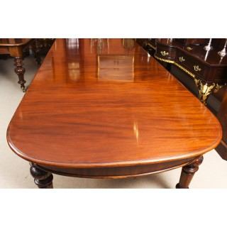 Antique 12ft Victorian Flame Mahogany D End Extending Dining Table 19th C