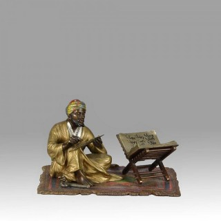 "Austrian Cold Painted bronze study ""Reading the Koran"" by Franz Bergman"