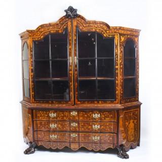 Antique Dutch Marquetry Walnut Display Cabinet Vitrine 19th C