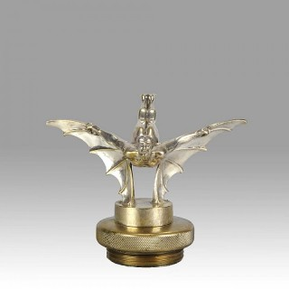 Art Deco Nickel Plated Bronze Car Mascot 'Batman' by Sasportas