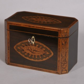Antique 18th Century Sheraton Period Two Division Purple Heart Tea Caddy