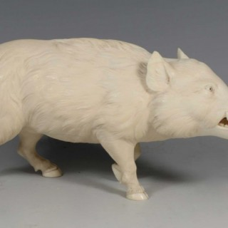 HIGH QUALITY JAPANESE CARVED IVORY WILD BOAR OKIMONO