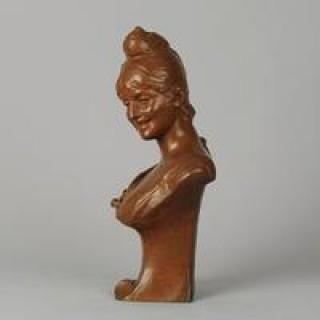 "Art Nouveau Bronze bust entitled ""Coy Maiden"" By Van Der Straeten"