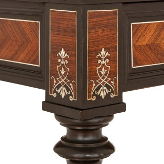 Louis XVI style ebony, rosewood and ivory inlaid side table by Sormani
