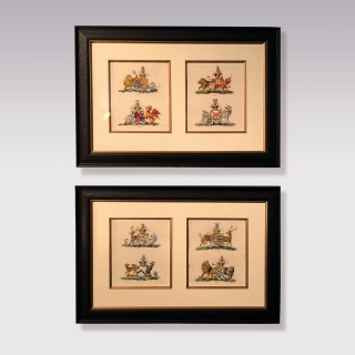 Pair Of Late 18th Century Heraldic Prints By Charles Catton