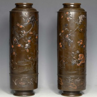 LARGE PAIR OF JAPANESE BRONZE & MIXED METAL MONKEY VASES- HAMADA YOSHIFUMI