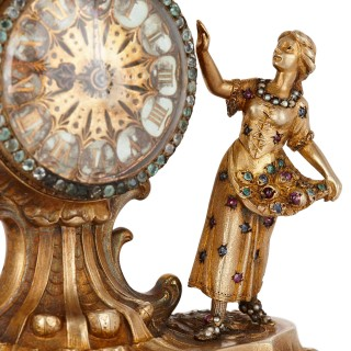 19th Century Austrian jewel-encrusted silver-gilt clock