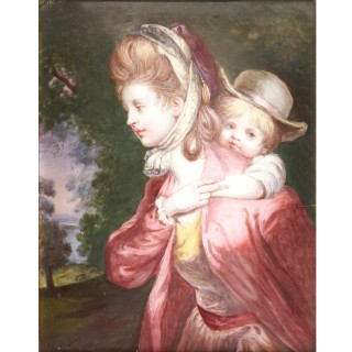 Limoges enamel portrait of a lady and child