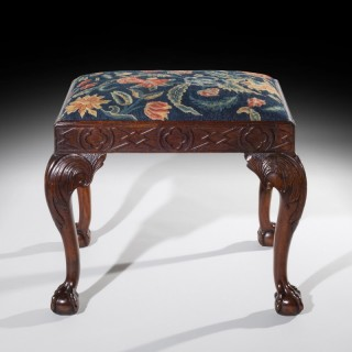 English Early 18th Century Walnut Needlepoint Stool