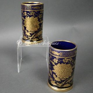 A PAIR OF MASON'S IRONSTONE CHINA SPILL VASES MAZARINE BLUE