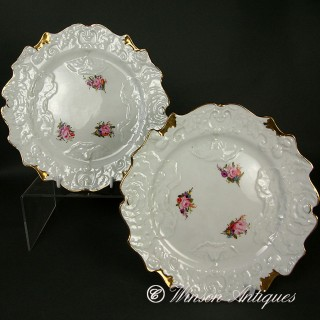 C J MASON BONE CHINA CABBAGE LEAF DESSERT PLATES