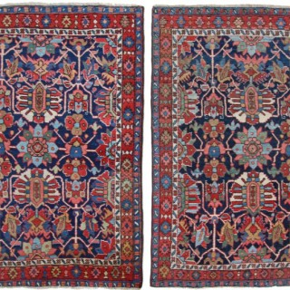 Antique pair of Heriz rugs