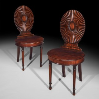 Pair of George III Neoclassical Hall Chairs, in the Manner of Mayhew and Ince