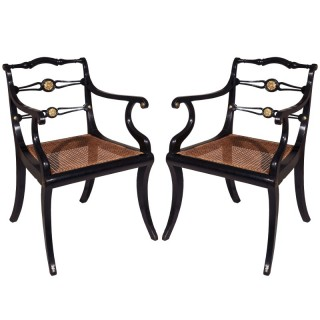 Pair of Regency Ebonised Gilt-Brass Mounted Klismos Armchairs, by John Gee
