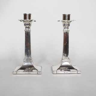 Arts & Crafts Silver Candlesticks