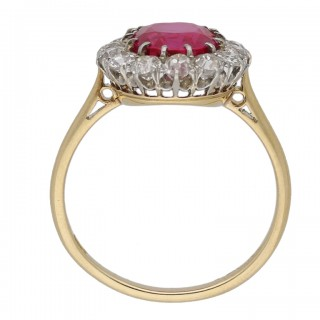 Natural unenhanced Burmese ruby and diamond coronet cluster ring, circa 1910.