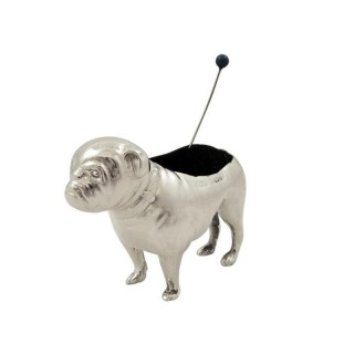 Antique Edwardian Sterling Silver Bulldog / Pug Pin Cushion 1906