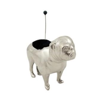 Antique Edwardian Sterling Silver Bulldog / Pug Pin Cushion 1906