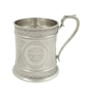 Antique Victorian Sterling Silver Christening Mug / Tankard 1872