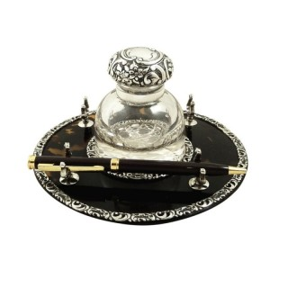 Antique Victorian Sterling Silver & Tortoiseshell Inkwell on Stand 1899