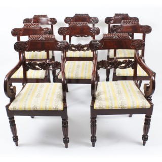 Antique Set 8 Regency Flame Mahogany Dining Chairs Manner of Gillows c.1820