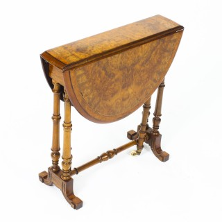 Antique Victorian Small Burr Walnut & Inlaid Sutherland Table c.1870