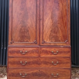 18th Century George III Period Mahogany Linen Press