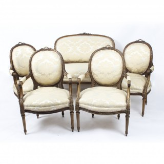 Antique French Louis Revival 5 Piece Salon Suite Sofa Armchairs 19th C