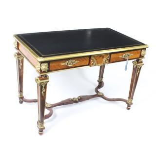 Antique Louis Revival Kingwood Marquetry Ormolu Bureau Plat Desk 19th C