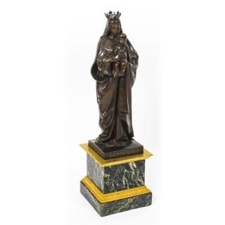 Antique Large French Bronze of Sainte Maria by De Beaumont 19th Century